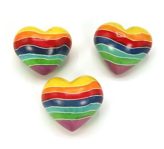 Regenboog hart steen - speksteen