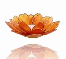 Lotus Sfeerlicht  - 2e Chakra - Oranje met Zilveren Rand