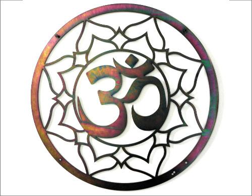 Ohm Lotus wand decoratie - gepassiveerd - 75 cm