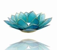 Lotus Sfeerlicht - 5e Chakra - Blauw met Zilveren Rand