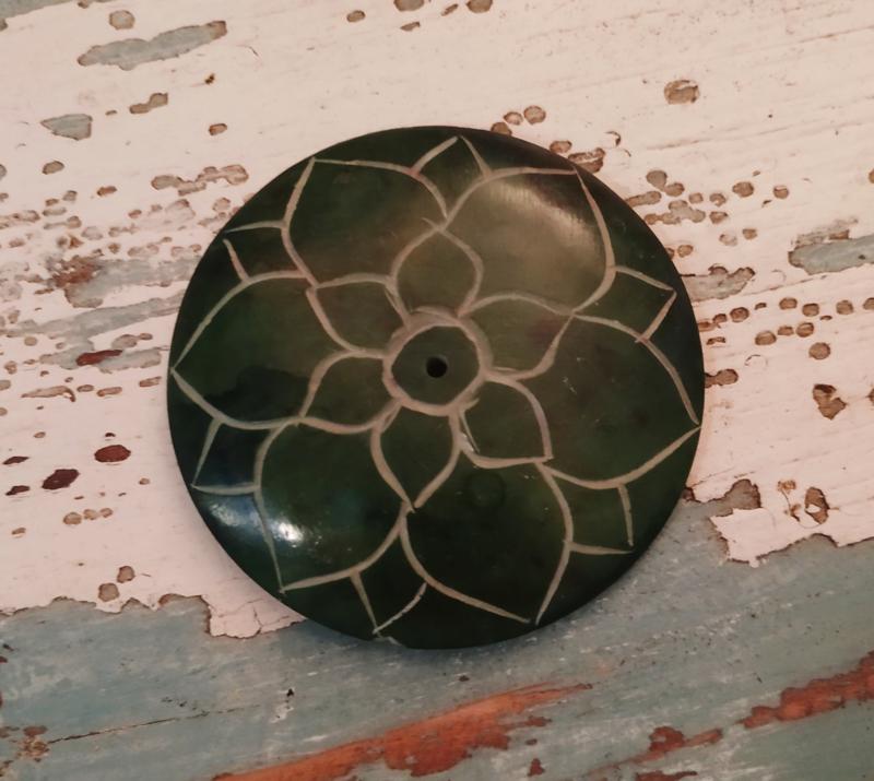 Ronde wierookbrander Lotus - groen