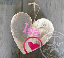 hart met naam steigerhout