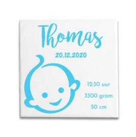 Geboortetegeltje met Zwitsal baby blauw