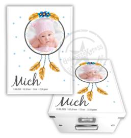 Geboortedoos met foto dreamcatcher - blauw