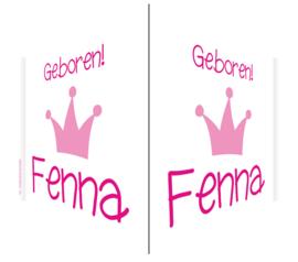 V-bord /raambord met naam en kroon jongen/meisje