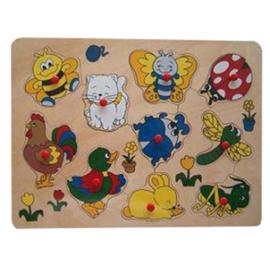 Houten puzzel vrolijke dieren met knopje (met naam)