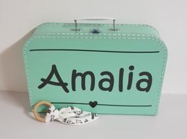 Koffertje met naam *Stripes* diverse kleuren