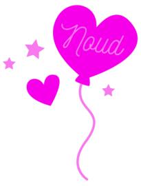 Raamsticker met naam 'ballon en hartje' roze