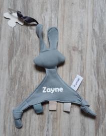 Speendoekje/knuffeldoekje  konijn Snoes (met naam)Grey Blue