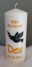 Doop- of geboortekaars met naam 'duif'- doopsel