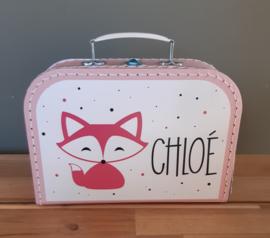 Koffertje met naam *Vosje meisje* diverse kleuren