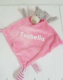Tutteldoekje / knuffeldoekje beer roze met naam