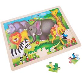 Houten legpuzzel wilde dieren olifant 48 stukjes.