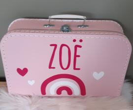 Koffertje *regenboog-hartjes * met naam diverse kleuren
