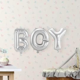 Folieballon 'Boy' Zilver - 36cm