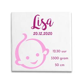 Geboortetegeltje met Zwitsal baby 2 kleuren roze