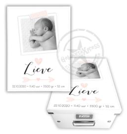 Geboortedoos met foto, hartje en pijl - roze