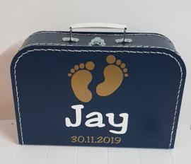 Koffertje met naam *Voetjes* diverse kleuren