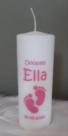 Doop- of geboortekaars met naam 'voetjes'- doopsel