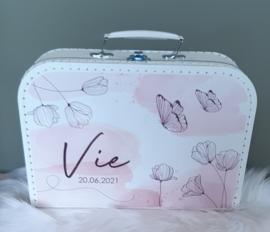 Koffertje met naam *Aquarel Veldbloemen*  diverse kleuren