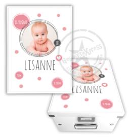 Geboortedoos met foto - roze dots