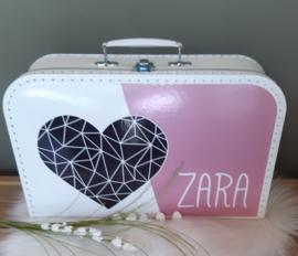 Koffertje met naam *Hart* diverse kleuren