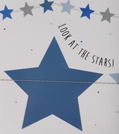 Paper garland ''stars'' blauw 2,5 meter