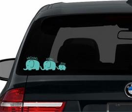 Autosticker Olifantjes gezin met namen - aantal olifantjes naar keuze
