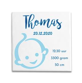 Geboortetegeltje met Zwitsal baby 2 kleuren blauw