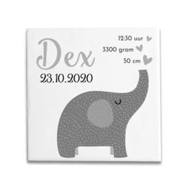 Geboortetegeltje met olifantje grijs