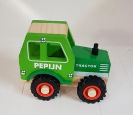 Houten tractor met of zonder naam en rubberen wielen
