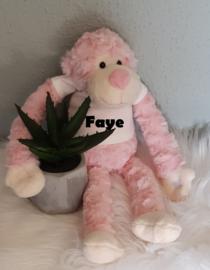 Knuffel slingeraapje 45 cm roze (met naam)