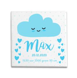 Geboortetegeltje met hartjes en wolk blauw