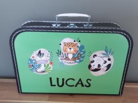 Koffertje met naam *Lieflijke wilde dieren*  diverse kleuren