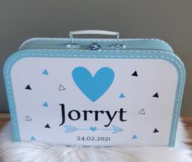 Koffertje met naam *Driehoekjes blauw* diverse kleuren
