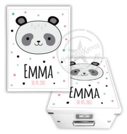 Geboortedoos met panda en naam - meisje