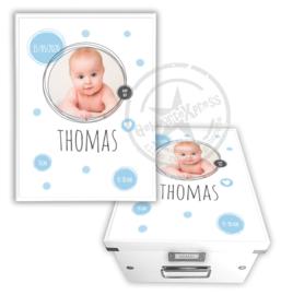 Geboortedoos met foto  blauwe dots