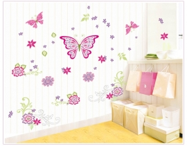 Muursticker vlinders en bloemen