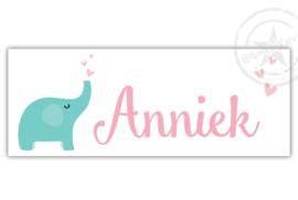 Kunststof naambordje  geboorte olifant meisje