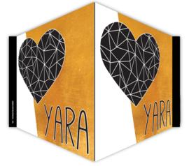 V-bord /raambord met naam en hart- gold colour