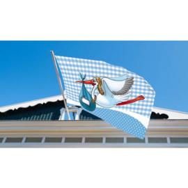 vlag jongen 60 x 90 cm ooievaar vlaggenstok , raamvlag