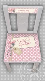 stoeltje met naam meisje / dots roze