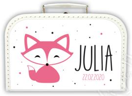 Koffertje met naam *Vosje meisje* Diverse kleuren koffertjes en bedrukking