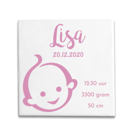 Geboortetegeltje met Zwitsal baby roze