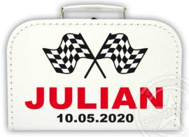 Koffertje met naam *Racevlaggen* Diverse kleuren koffertjes en bedrukking