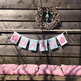 Vlaggetjes met naam meisje mint/roze