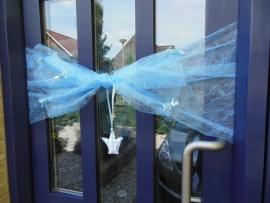 Blauwe deurstrik geboorte jongen
