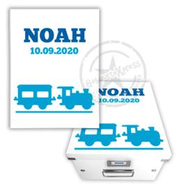 geboortedoos met naam en  trein