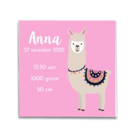 Geboortetegeltje met Alpaca roze