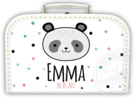 Koffertje met naam *Panda meisje* Diverse kleuren koffertjes en bedrukking